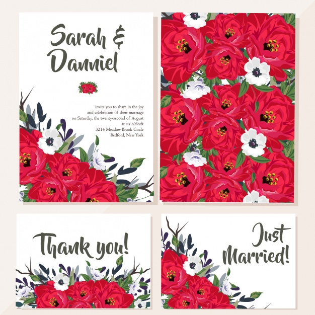 Wedding card with red flowers