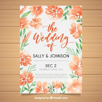 Wedding card with tropical flowers