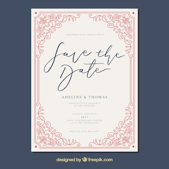 Wedding card with vintage frame
