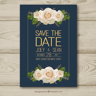 Wedding card with white roses