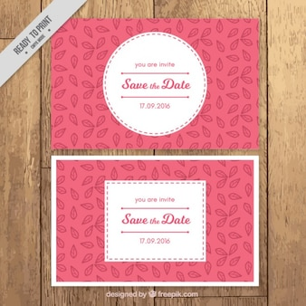 Wedding cards with details of leaves