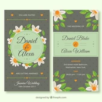 Wedding cards with flat jasmine flowers