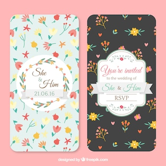 Wedding cards with floral details