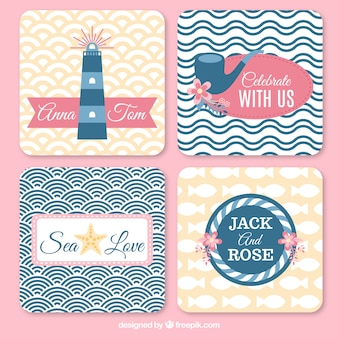 Wedding cards with sailor elements