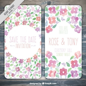 Wedding cards with  watercolor flowers