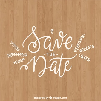 Wedding composition with wooden background