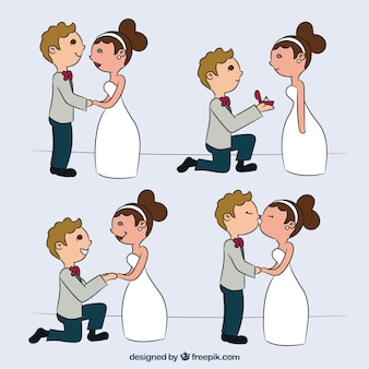 Wedding couple in four romantic moments