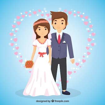 Wedding couple in love in cartoon style