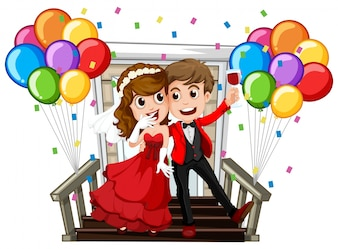 Wedding couple with colorful balloons