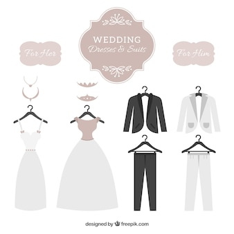 Wedding dresses & suits set