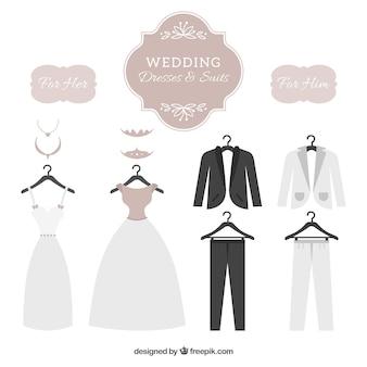 Wedding dresses & suits set