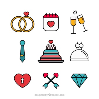 Wedding elements flat design