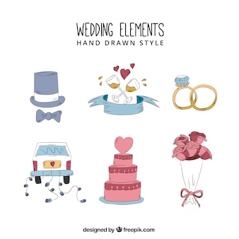 Wedding elements hand drawn style collection