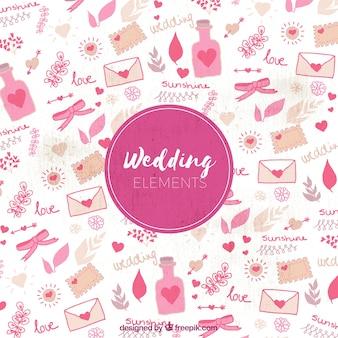 Wedding elements pattern background