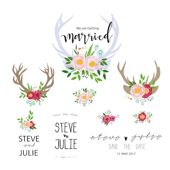 Wedding floral label collection