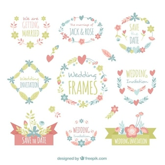 Wedding frames with hand-drawn elements