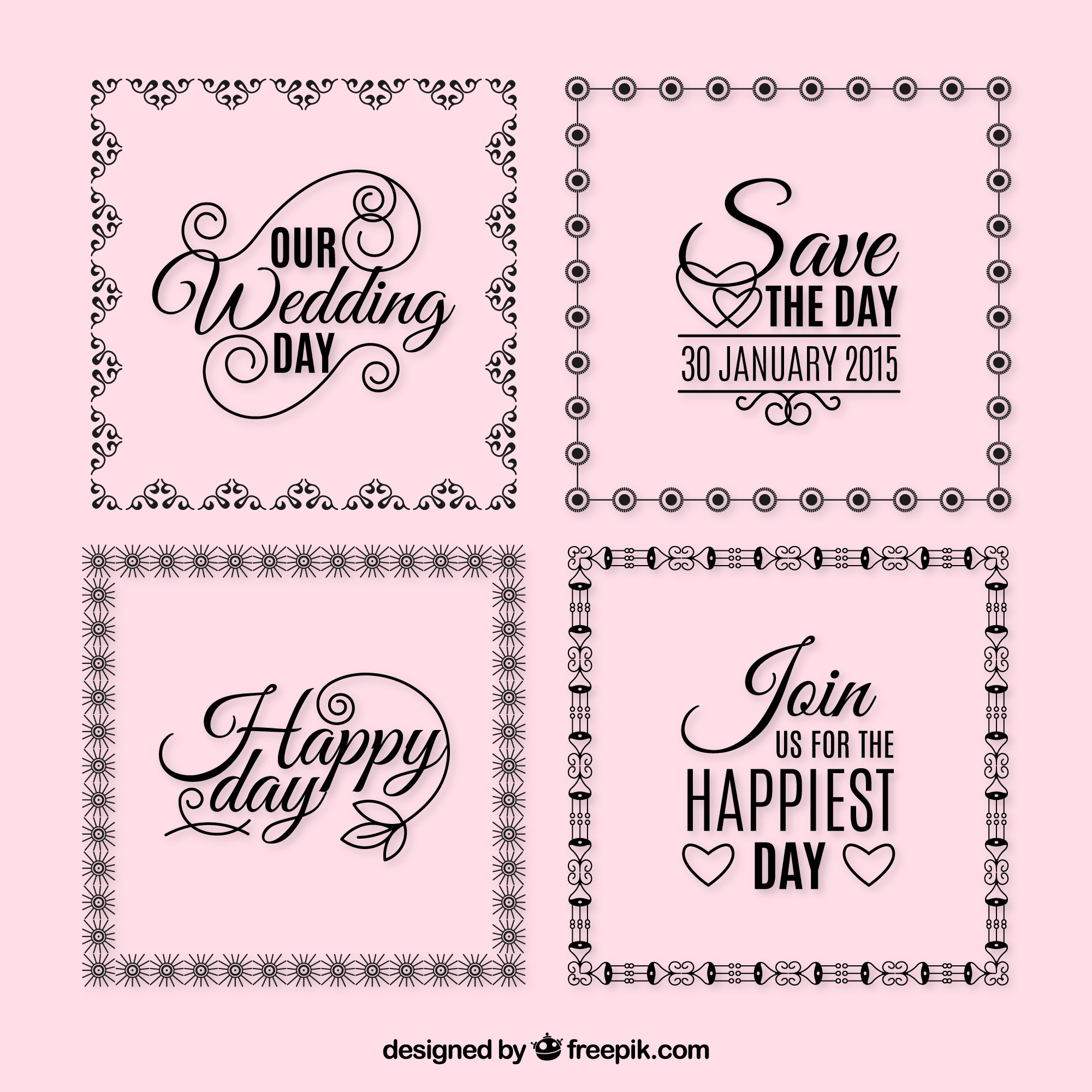 Wedding frames with phrases