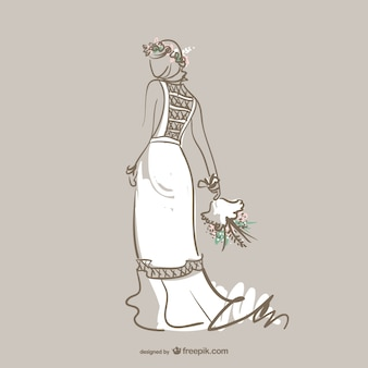 Wedding gown fashion vector