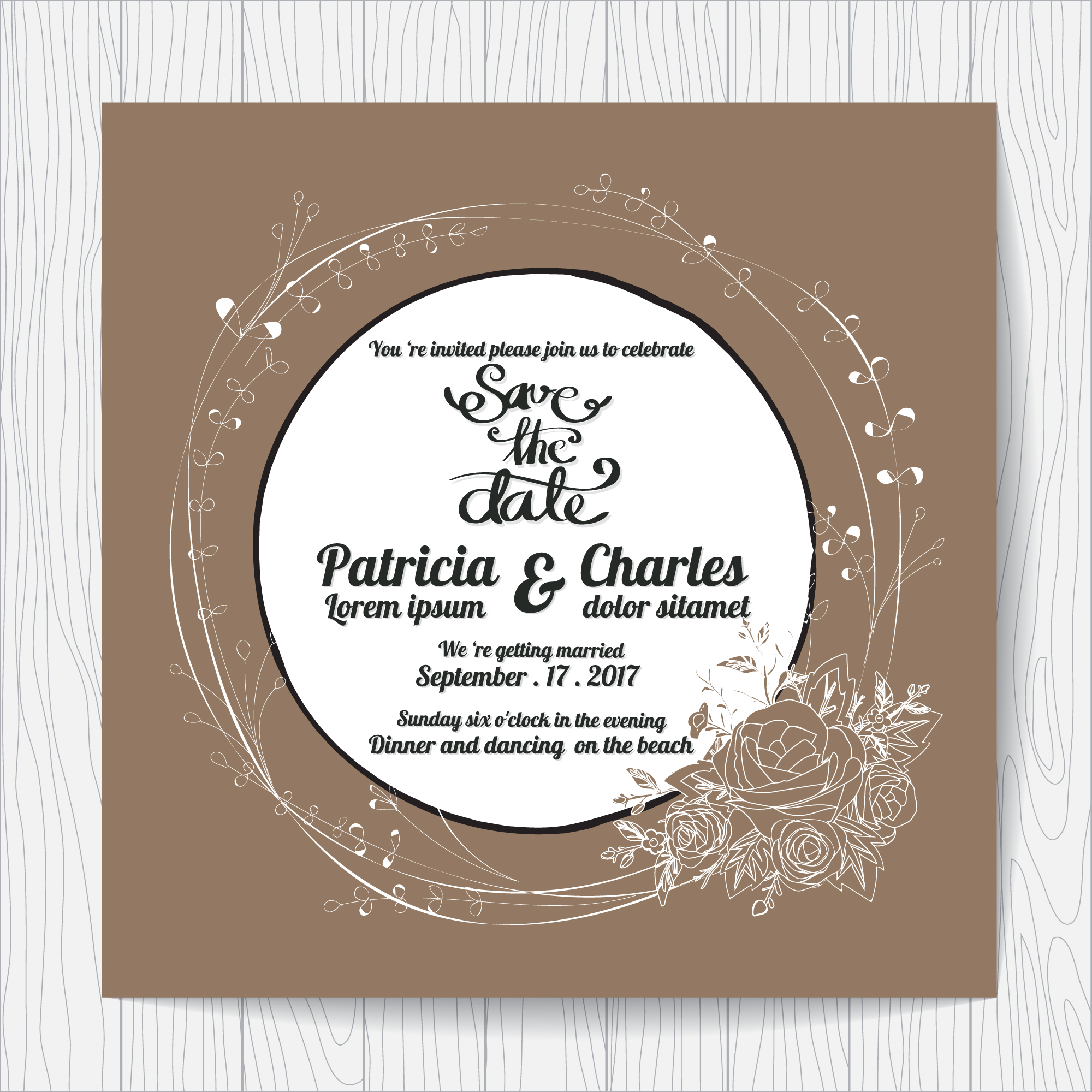 Wedding intivation with rounded design and dark backgroun