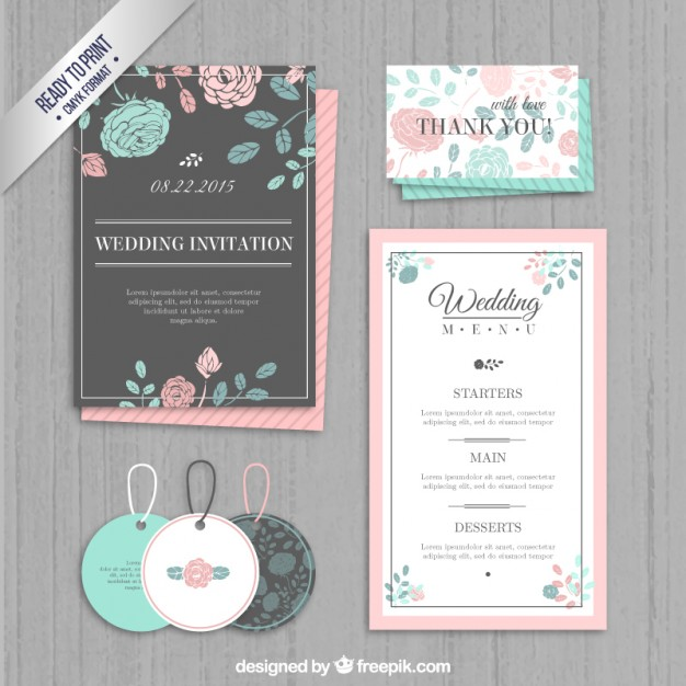 Wedding invitation, labels and menu