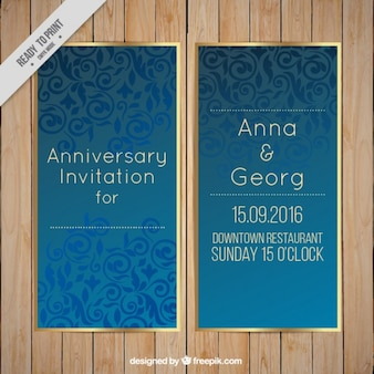 Wedding invitation, blue luxury pattern