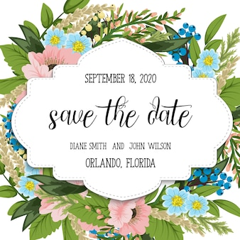 Свадебное приглашение с пакетом цветов с цветами.
