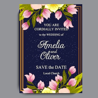 Wedding invitation card suite with flowers. Template