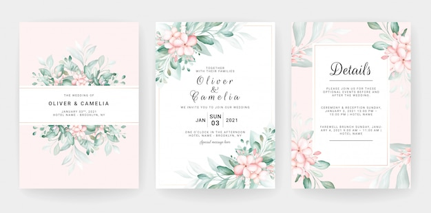 Wedding invitation card template set with soft peach watercolor floral decorations.