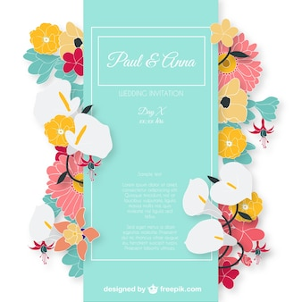 Wedding invitation card with colorful flowers