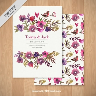 Wedding invitation decorated with a floral background