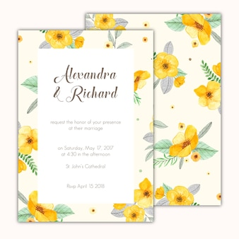 Wedding invitation decorated with hand painted yellow flowers
