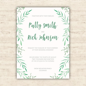 Wedding invitation design with watercolor elements