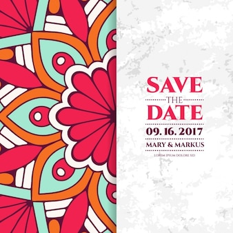 Wedding invitation, floral mandala