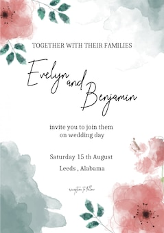 Wedding invitation, floral save the date modern card