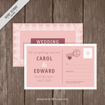 Wedding invitation in postcard style