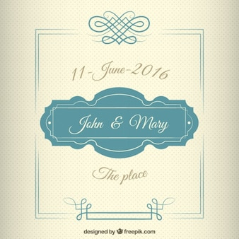 Wedding invitation in vintage style with a cute frame