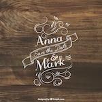 Wedding invitation lettering on wood
