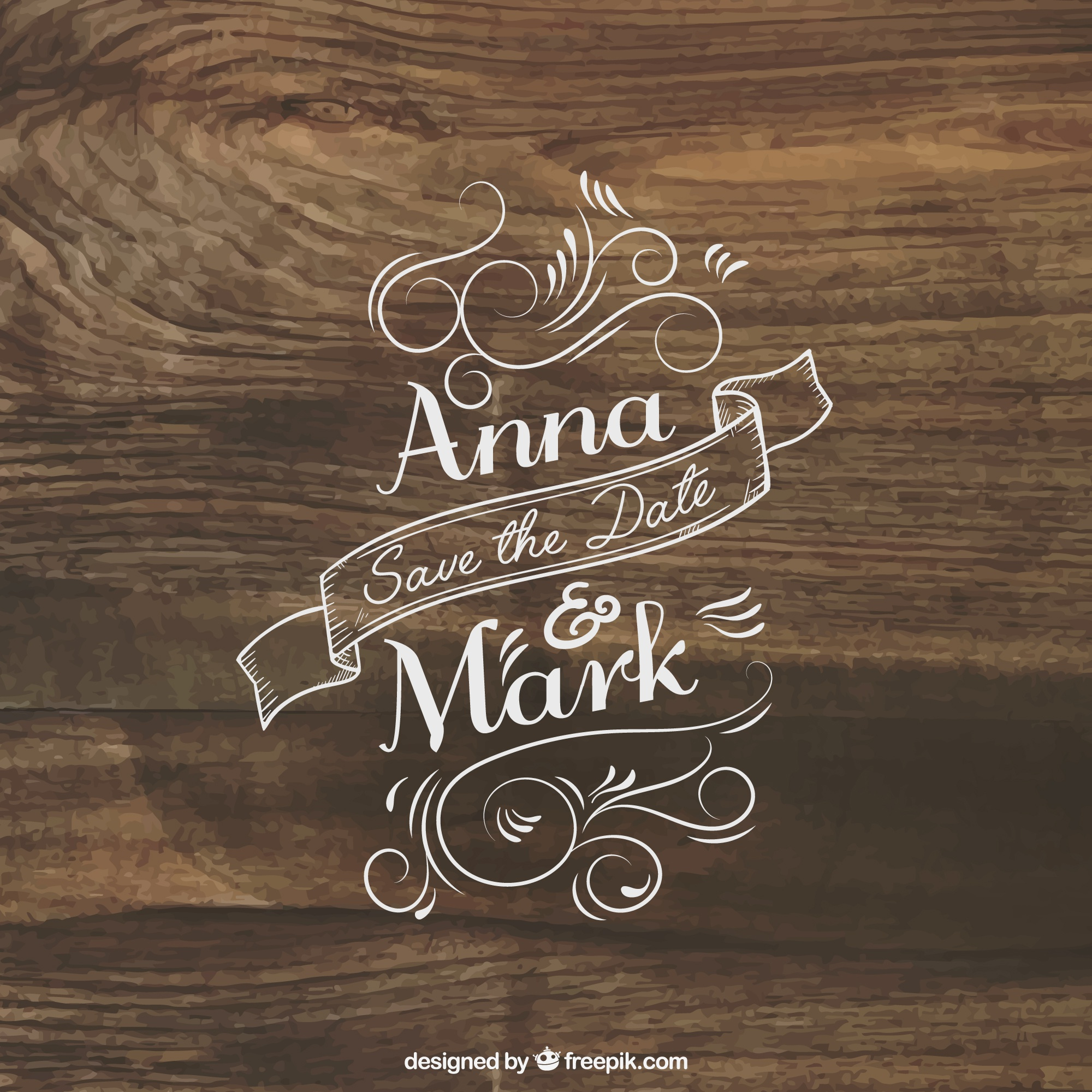 Wedding invitation lettering on wood
