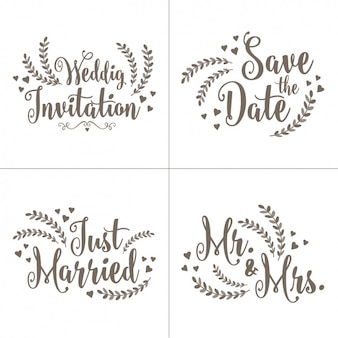 Wedding invitation letterings set