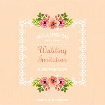 Wedding invitation of frame with floral details