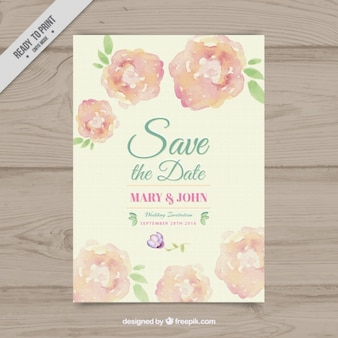 Wedding invitation of watercolor flowers