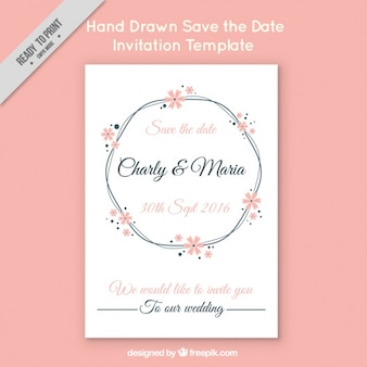Wedding invitation on pink background