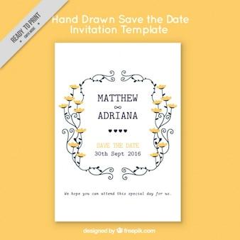 Wedding invitation on yellow background