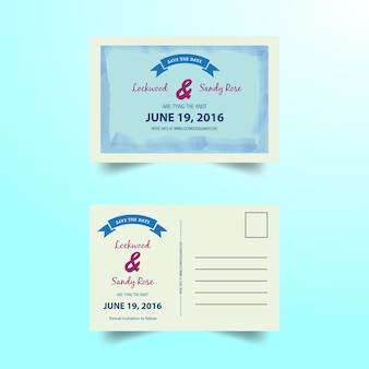 Wedding invitation postal card
