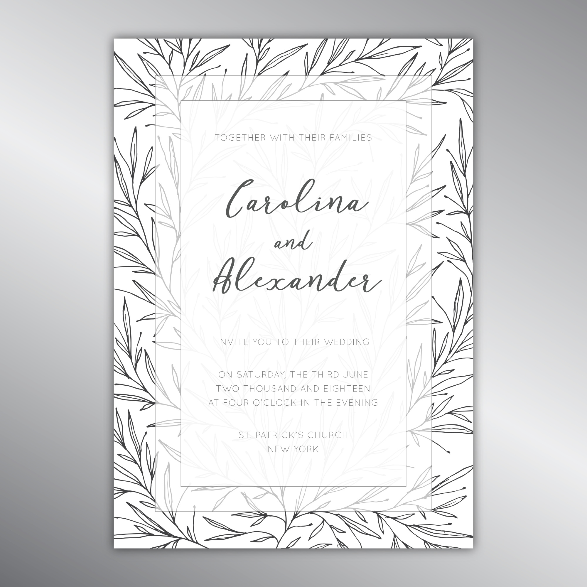 Wedding invitation template with a botanical pattern