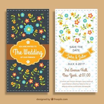 結婚式の招待状のテンプレートと色の付いた花