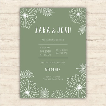Wedding invitation template with hand drawn flowers