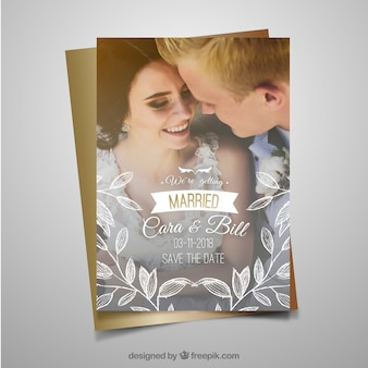 Wedding invitation template with happy couple