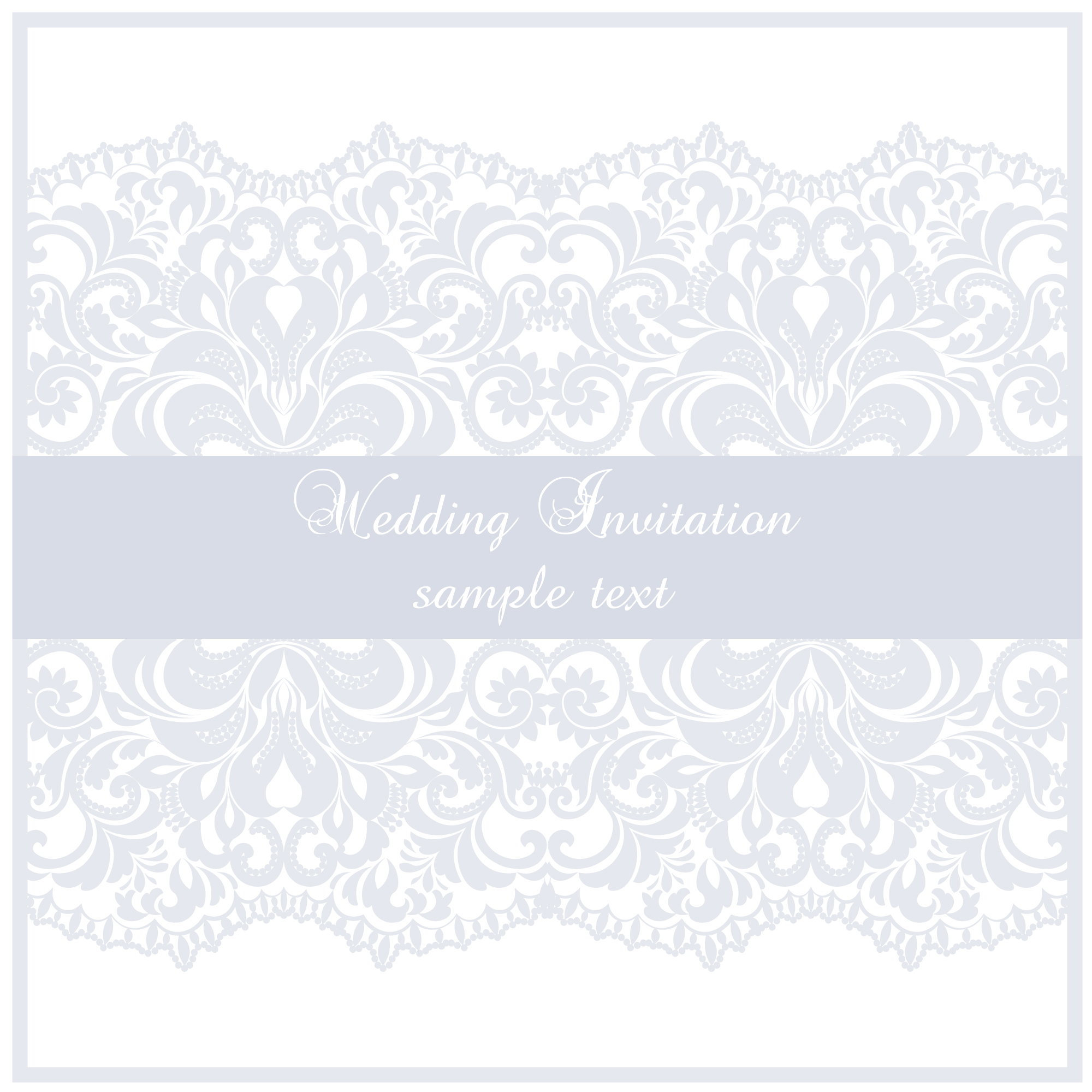 Wedding invitation template with ribbon