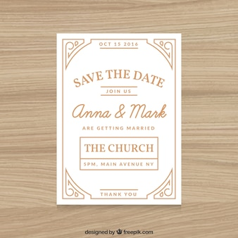 Wedding invitation white with ornaments